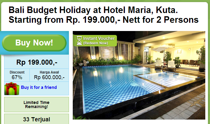 Bali Budget Holiday at Hotel Maria  Kuta. Starting from Rp. 199.000   Nett for 2 Persons
