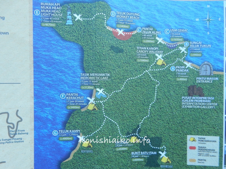 ペナン国立公園の地図