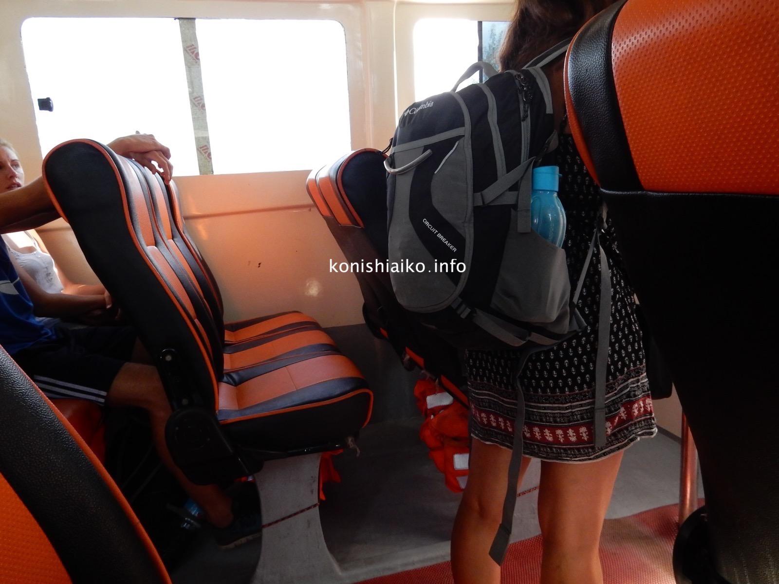 行きと同じボートだから座席も同じ