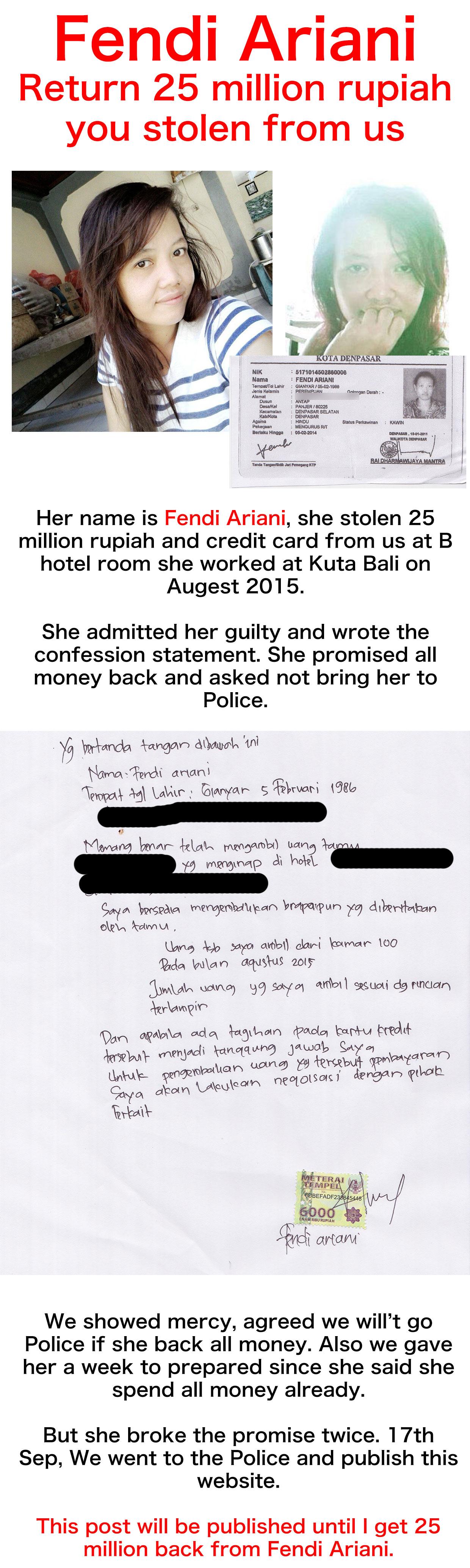 Thief in Bali – Fendi Ariani, who steal 25 million rupiah