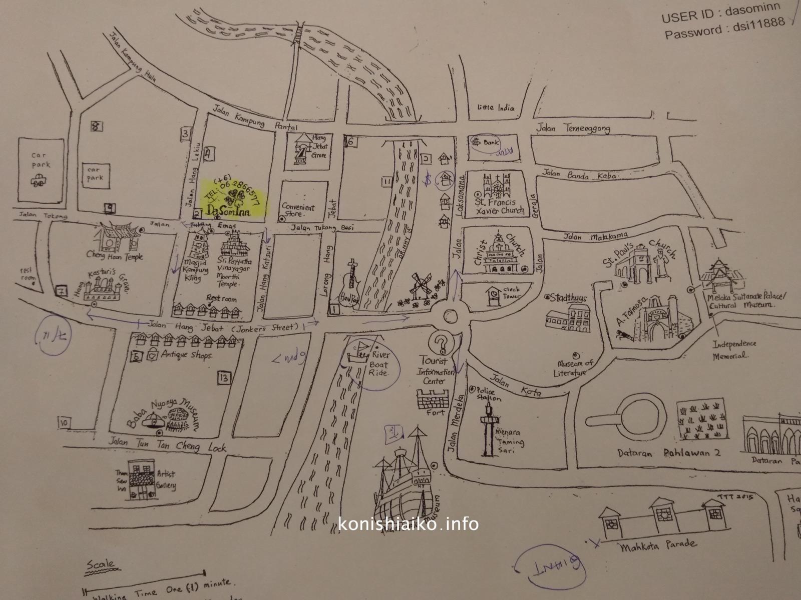 ホテル特製の地図。おすすめレストランが沢山書いてあって参考になった
