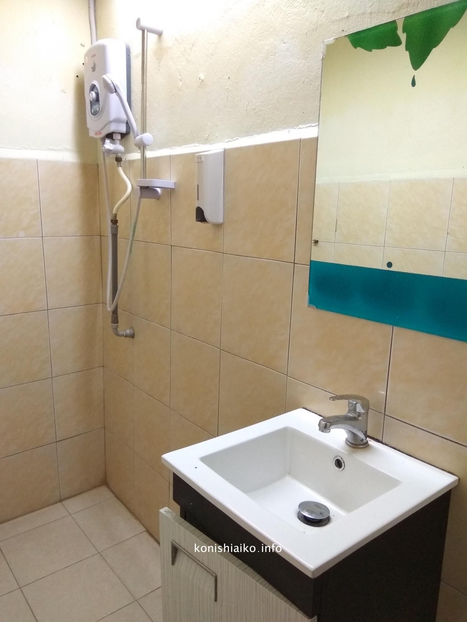 お湯が出る方のシャワールーム